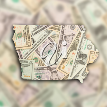 Map of Iowa, filled with many dollars
