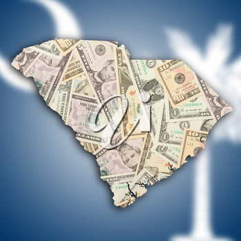 Map of South Carolina, filled with US dollars