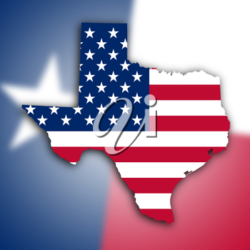 Map of Texas, filled with the national flag