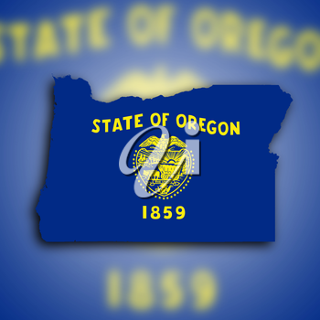 Map of Oregon filled with the state flag