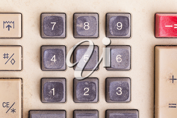Old calculator for doing office related work, covered in dust