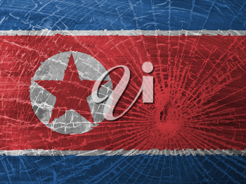 Isolated broken glass or ice with a flag, North Korea