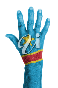 Hand of an old woman with arthritis, isolated on white, Congo