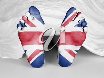 Dead body under a white sheet, flag of The UK