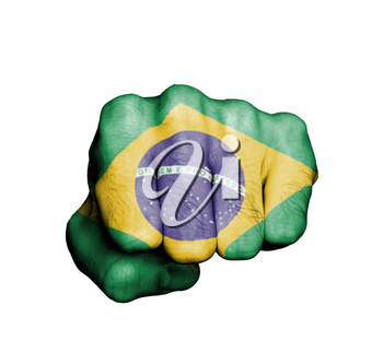 Front view of punching fist, banner of Brazil