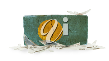 Brick with broken glass, violence concept, flag of Palau
