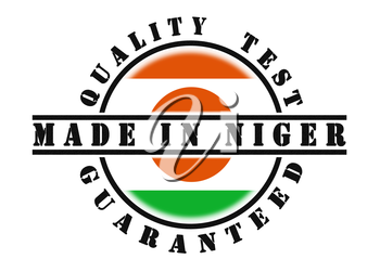 Quality test guaranteed stamp with a national flag inside, Niger