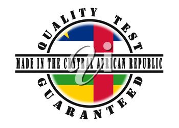 Quality test guaranteed stamp with a national flag inside, Central African Republic