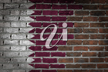 Very old dark red brick wall texture with flag - Qatar
