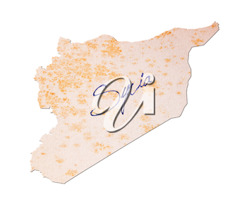 Syria - Old paper with handwriting, blue ink