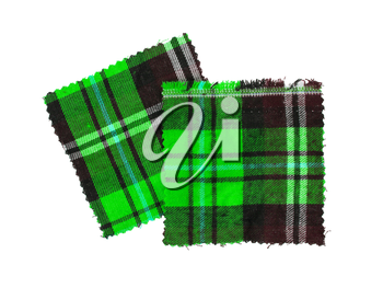 Small piece of the bright scottish checked fabric, green