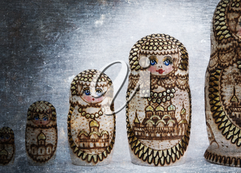 Russian wooden doll - Matryoshka - Isolated - Vintage