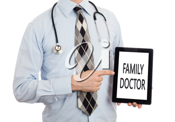 Doctor, isolated on white backgroun,  holding digital tablet - Family doctor