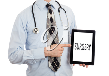 Doctor, isolated on white backgroun,  holding digital tablet - Surgery