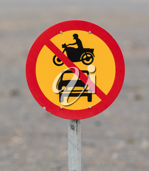 Road sign in Icelandd - No motor vehicles allowed