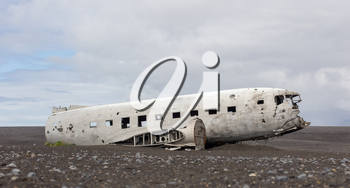 The abandoned wreck of a US military plane on Solheimasandur beach near Vik, Southern Iceland