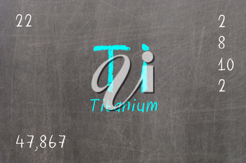 Isolated blackboard with periodic table, Titanium, chemistry