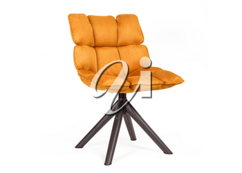 Modern chair made from suede and metal, isolated on white - Orange