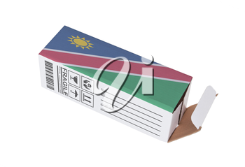 Concept of export, opened paper box - Product of Namibia