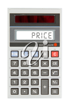 Old calculator showing a text on display - price