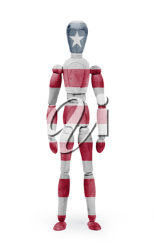 Wood figure mannequin with flag bodypaint on white background - Liberia