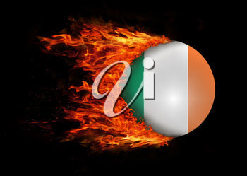 Concept of speed - Flag with a trail of fire - Ireland