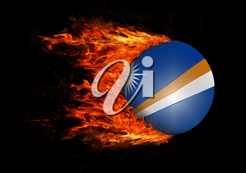 Concept of speed - Flag with a trail of fire - Marshall Islands