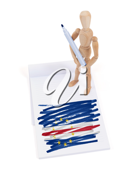 Wooden mannequin made a drawing of a flag - Cape Verde