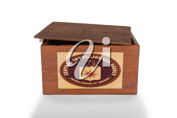 Wooden crate isolated on a white background, product of the CIA