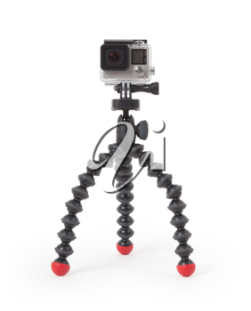 High-definition personal camera, isolated on a white background, no brand