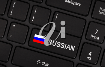 Enter button with flag Russia - Concept of language (learning or translate)