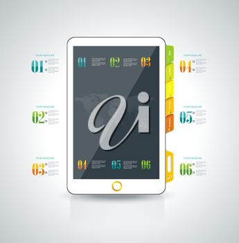 Website design template elements: Smart phone and icons set