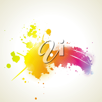 Abstract artistic Background with floral element and colorful blots. ink splattered background