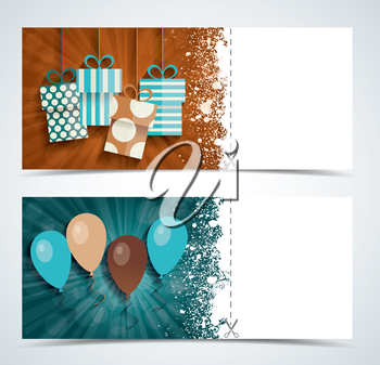 Complimentary ticket to a party on birthday, various vector design.