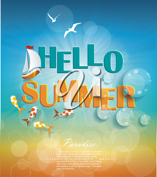 Summer time background with text. Say Hello to Summer, creative graphic message design.