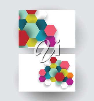 Business card design with paper hexagons composition, vector illustration.