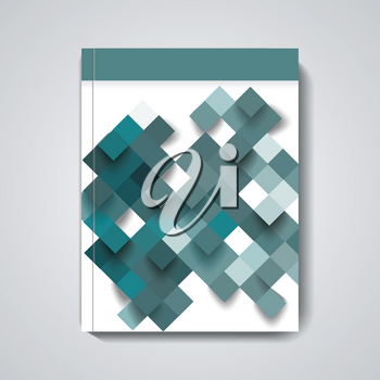 Brochure, Magazine cover, flyer design with blue rhombus background.