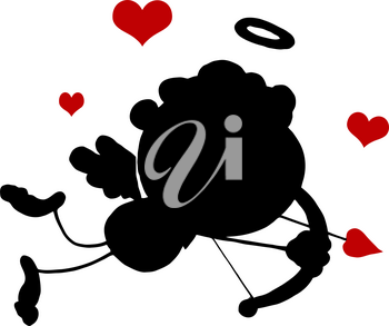 Clipart Illustration of Silhouette of Cupid With Red Hearts