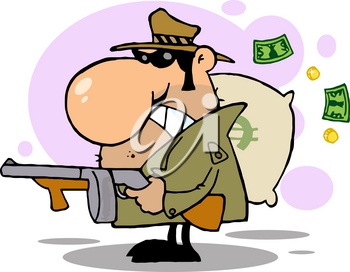 Clipart Illustration of A Robber With a Gun and a Bag of Money