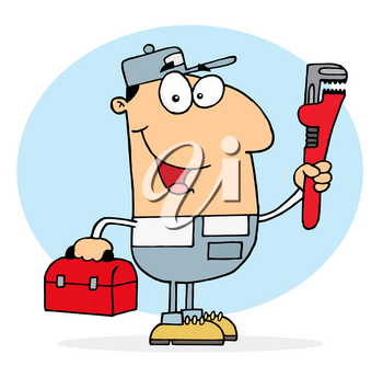 Clipart Image of A Smiling Plumber Holding a Monkey Wrench and a Red Toolbox