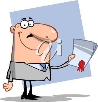 A Happy Man Holding an Award Letter In His Hand Clipart Image
