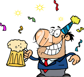 Clipart Image of A Man at a Party Drinking a Pint of Beer