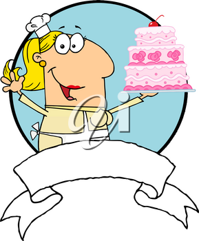 Clipart Image of A Smiling Baker Holding a Three-tiered Cake
