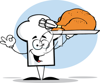 Clipart Image of A Happy Chef's Hat Carrying a Serving Tray With a Roast Turkey