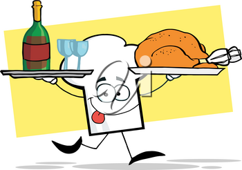Clipart Image of A Chef's Hat Carrying a Tray of Red Wine and a Roast Turkey