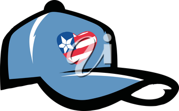 Clipart Image of A Baseball Hat With the American Stars and Stipes on It