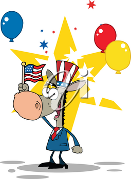 Clipart Image of The Democrat Donkey With the American Flag and Party Balloons