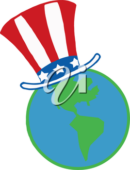 Clipart Image of Planet Earth Wearing an Uncle Sam Hat