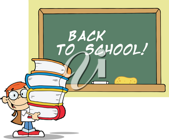 """A Blackboard With """"back To School"""" Written on It and a Boy Carrying Textbooks Clipart Image"""