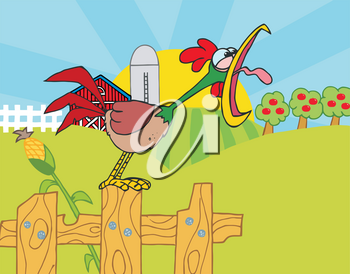 Clipart Illustration of A Rooster Cawing on a Farm's Fence